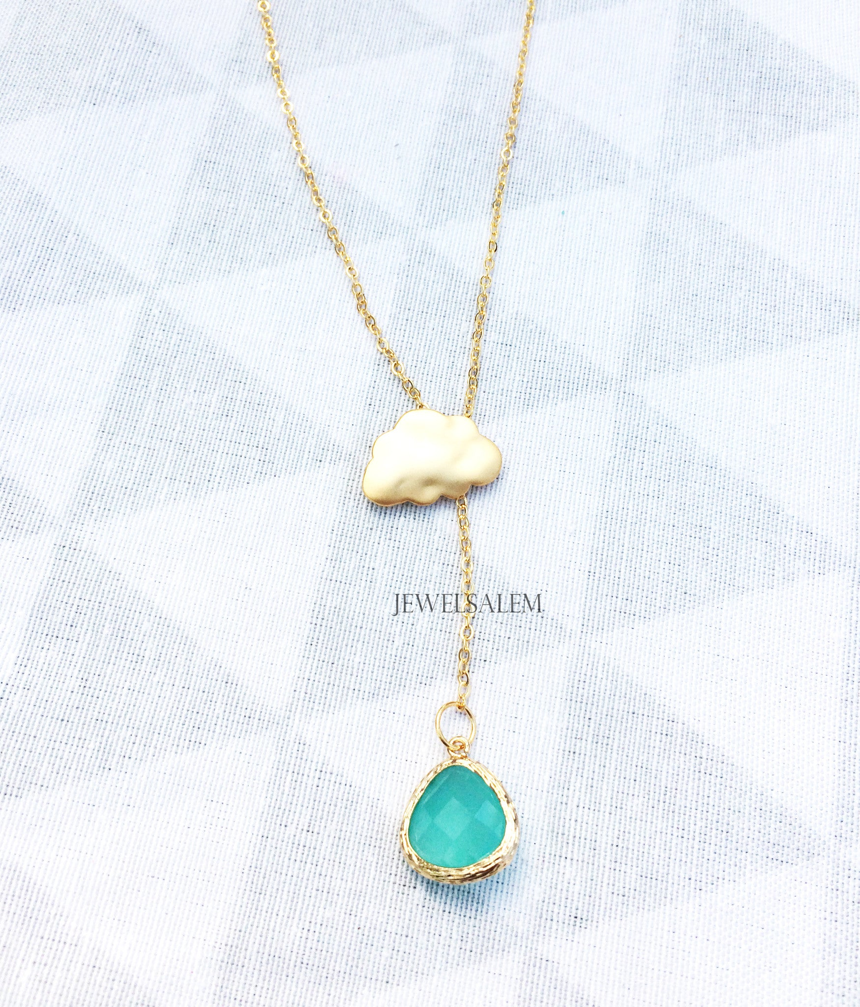 Gold Cloud Lariat Necklace Aquamarine Turquoise Glass Stone Layering Long Modern Jewelry Gift for Mother Sister Best Friend C1 - Jewelsalem