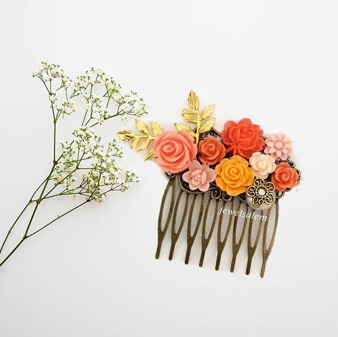 Chinoiserie - Coral Wedding Hair Comb