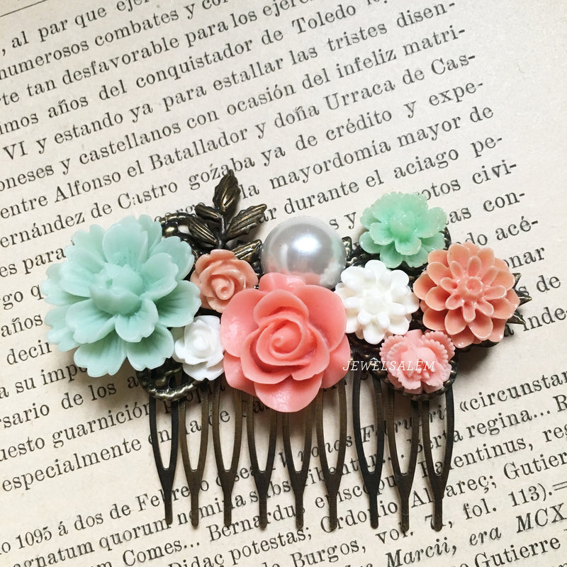 Romantic Wedding Comb Bridal Hair Slide in Coral Pink and Mint - Jewelsalem