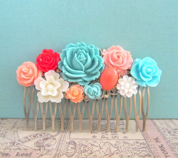 Coral Turquoise Hair Comb Wedding Hair Accessories Flower Bridesmaid Gift Orange Peach Red Blue Mint Bridal Floral Head Piece Autumn Fall - Jewelsalem