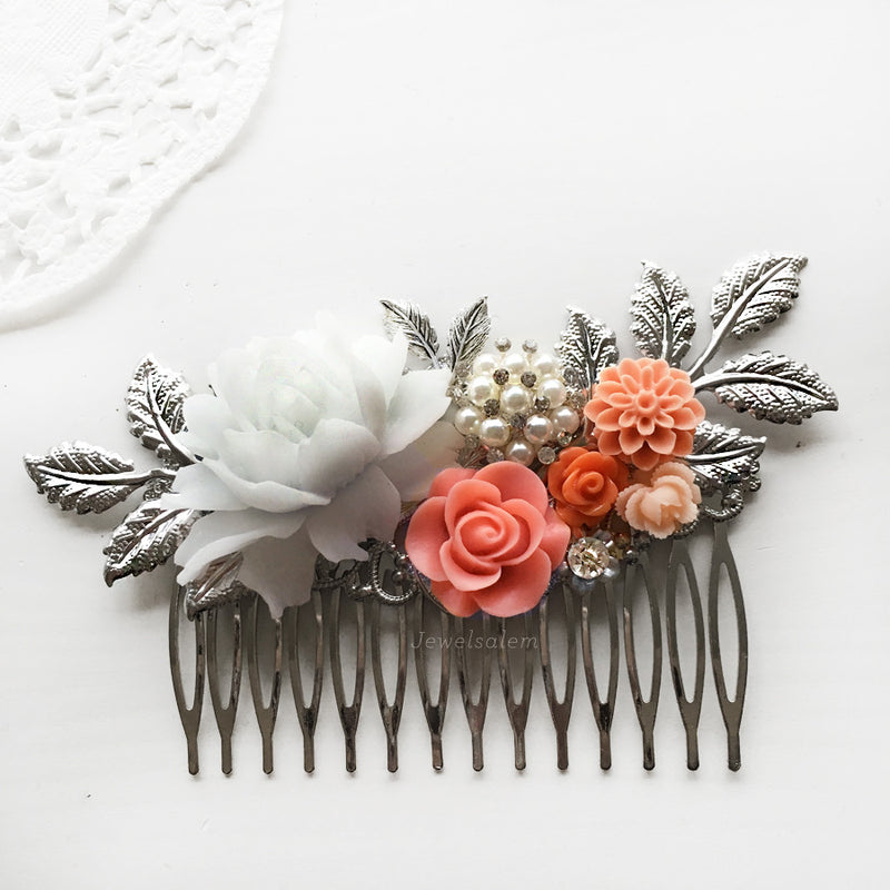 Katie Jayne - Coral Wedding Hair Comb Salmon Pink Silver Hair Slide - Jewelsalem