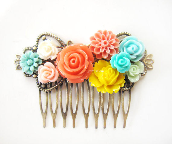 Wedding Hair Accessories Bridal Hair Slide Modern Flower Comb for Bride Modern Floral Headpiece Colorful Coral Yellow Aqua Turquoise - Jewelsalem