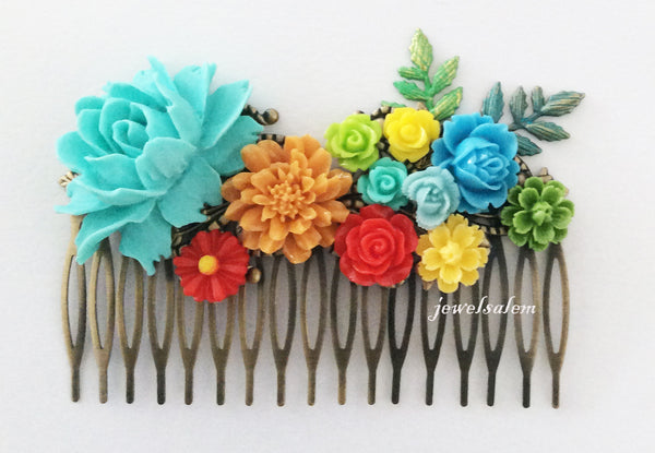 Rainbow Color Wedding Hair Comb Bridal Hair Accessories Color Flower Bouquet Blue Yellow Red Green - Jewelsalem