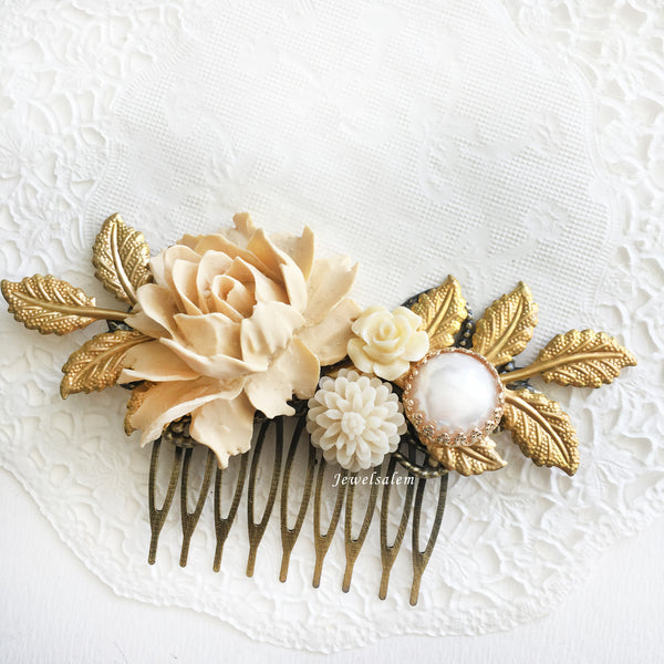 Beige Bridal Comb, Neutral Wedding Theme, Cream Ivory Flowers Hair Slide, Pearl Rose Hair Pin with Large Leaves, Romantic Wedding Hair Comb - Jewelsalem