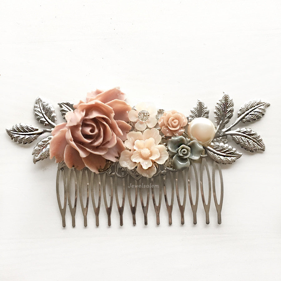Crimson Lady - Wedding Hair Comb Blush Peach Salmon Pink Plum Tea Rose & Grey - Jewelsalem