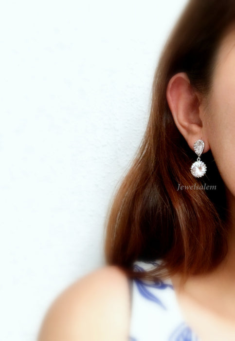 Elegant Cubic Zirconia Earrings Faux Diamond Bridal Jewellery Affordable Wedding Earrings for Bride Bridesmaids - Jewelsalem