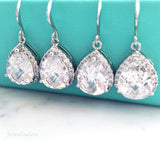 sterling silver bridal earrings, cubic zirconia wedding earrings - Jewelsalem
