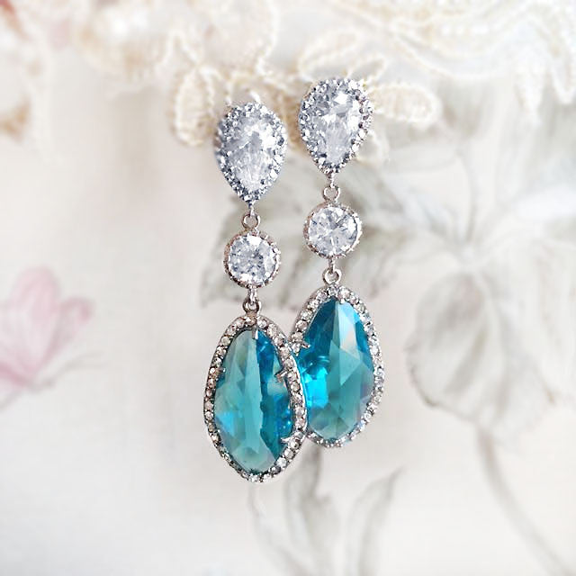 Alexis Grande - Teal Cubic Zirconia Earrings