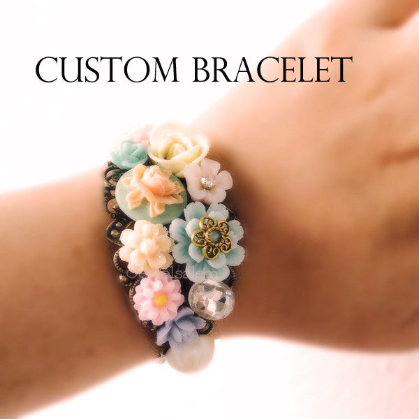Custom Made Wedding Bracelet for Bride and Bridesmaids, Maid of Honor, Mother of Bride, Mother of Groom - Jewelsalem