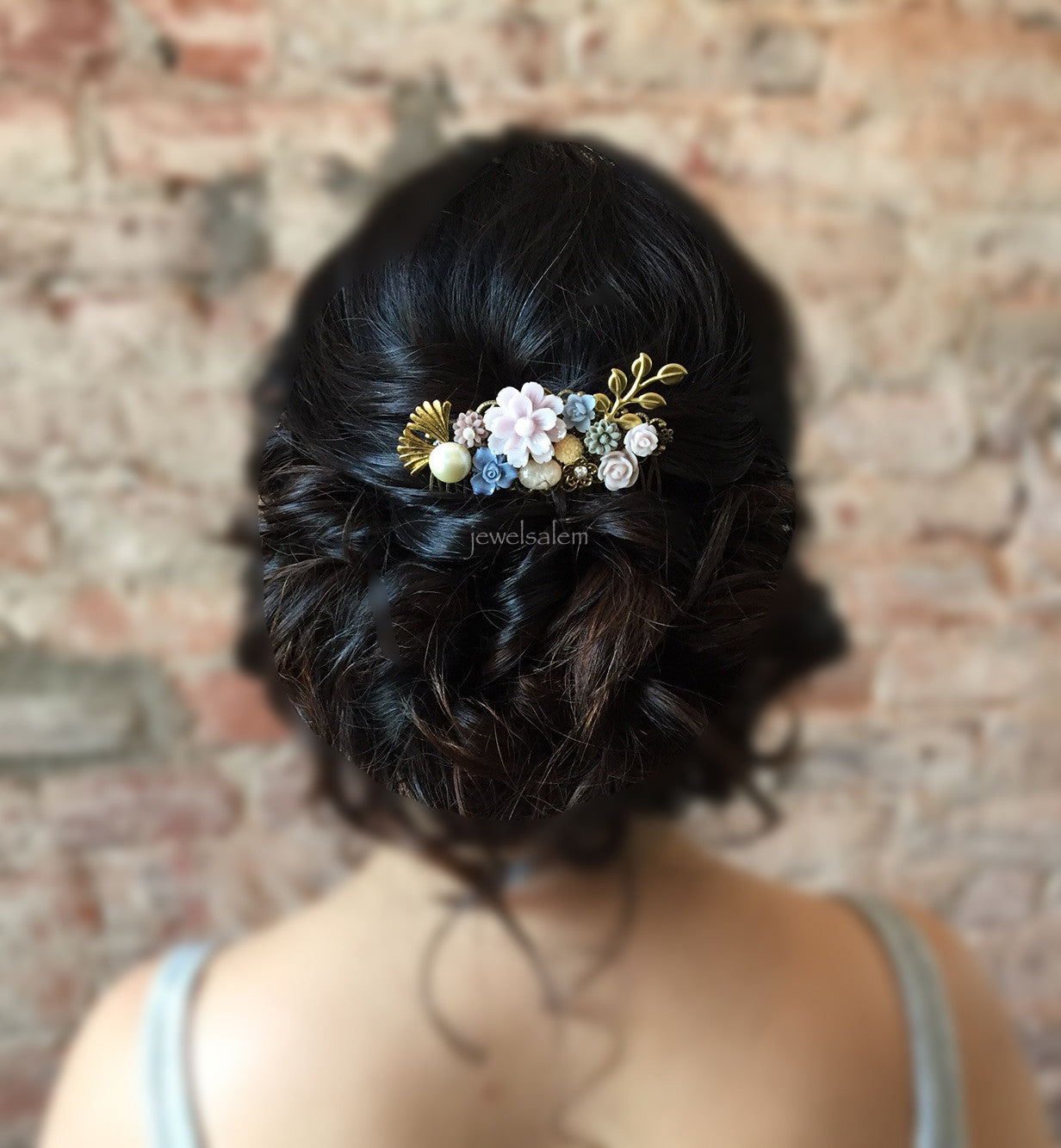 Personalised Wedding Hair Comb Customised Bridal Comb Hair Accessories For Bride Made to Order Hair Slide - Jewelsalem
