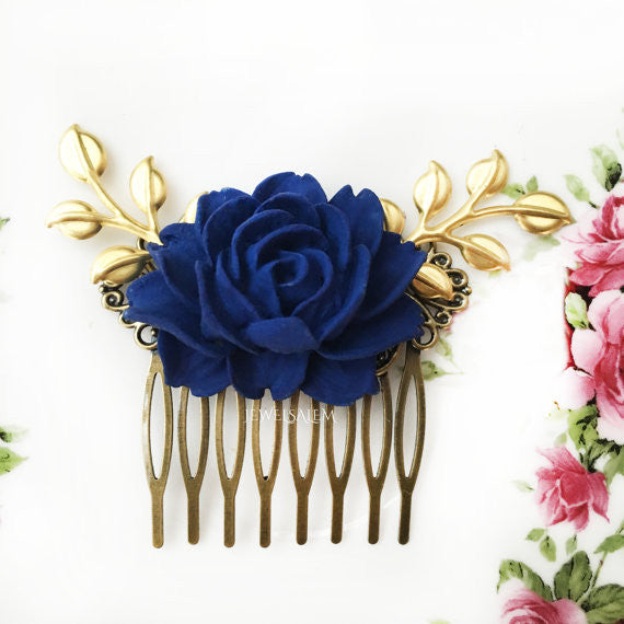 Dark Blue Wedding Comb Navy Blue Rose Hair Comb Gold Leaf Bridal Hair Comb Bridesmaids Hair Comb Wedding Hair Accessories - Jewelsalem