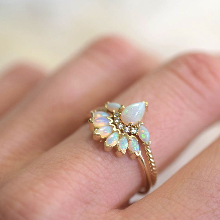 Venice - Diamond and Opal 14K Gold Ring