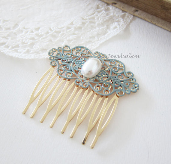 Bridal Hair Comb Pearl Comb for Wedding Turquoise Hair Comb Duck Egg Blue Wedding Hair Slide Romantic Chintz Victorian Modern Comb for Bride - Jewelsalem