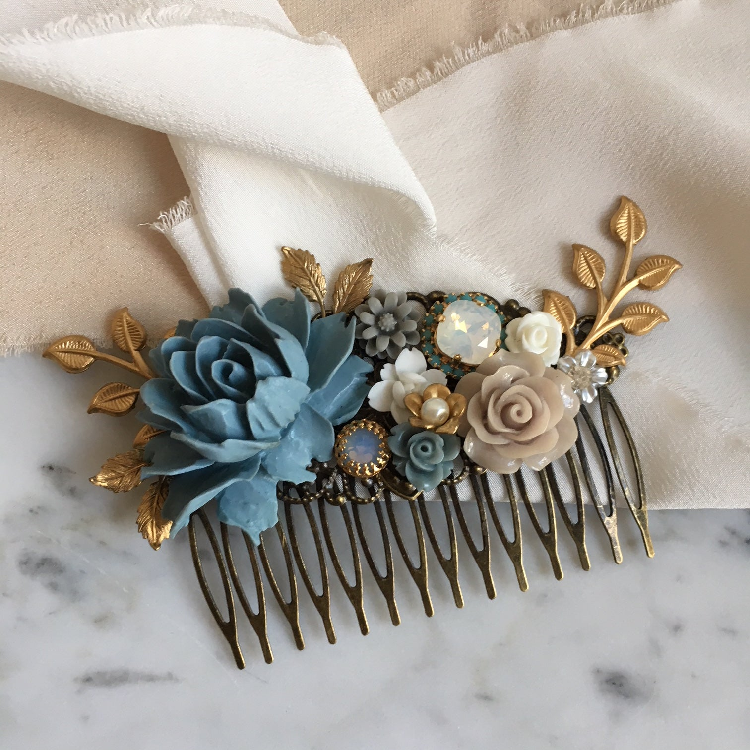 Lydia - Elegant Dusty Blue Wedding Theme Hair Comb