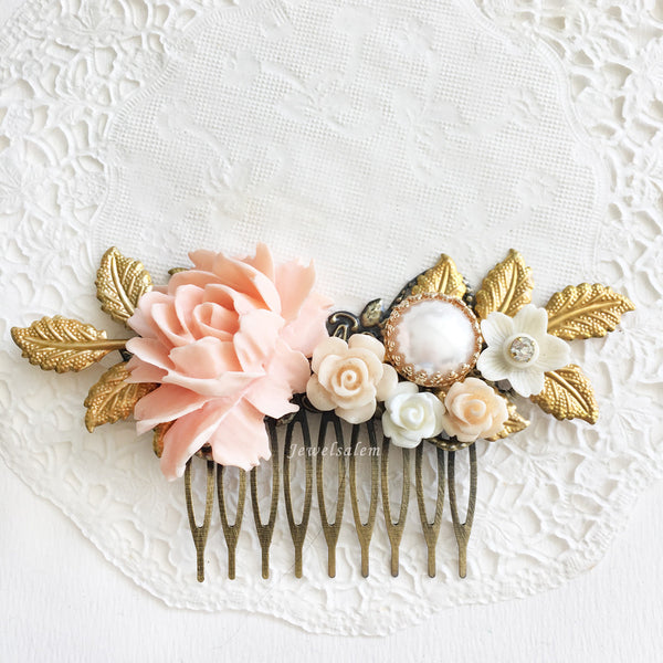 Dusty Pink Wedding Hair Accessories, Beige Nude Pink Bridal Hair Comb, Romantic Elegant Chic Hair Adornment - Jewelsalem
