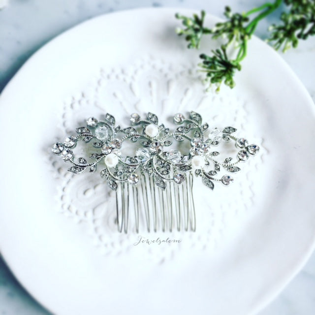 Kelly - Vine Crystals and Pearls Wedding Comb