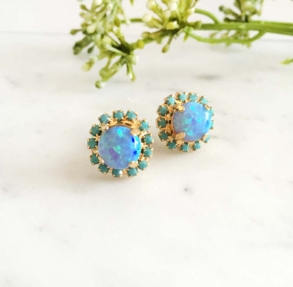 Delovely - Blue Opal Earrings