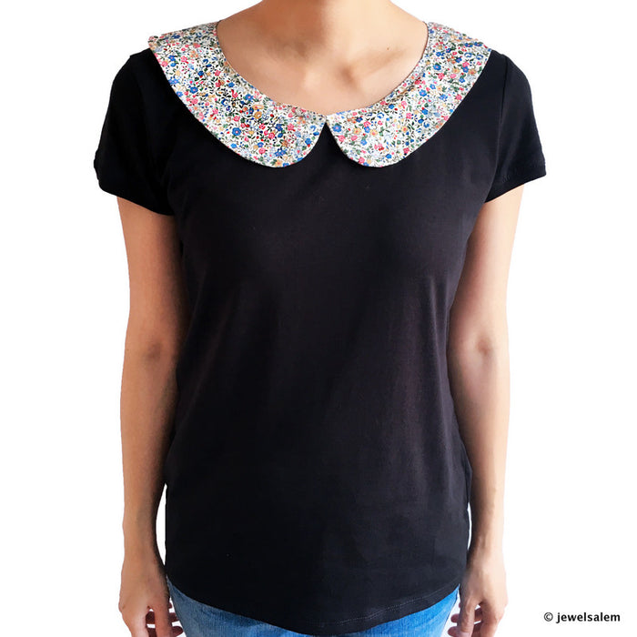 Black Peter Pan Collar T Shirt - Journey to Giverny - Jewelsalem
