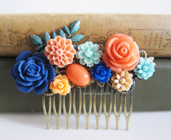 Coral Turquoise Navy Blue Hair Comb Wedding Hair Accessories Bridesmaid Gift Orange Peach Sapphire Blue Bridal Floral Headpiece Romantic - Jewelsalem