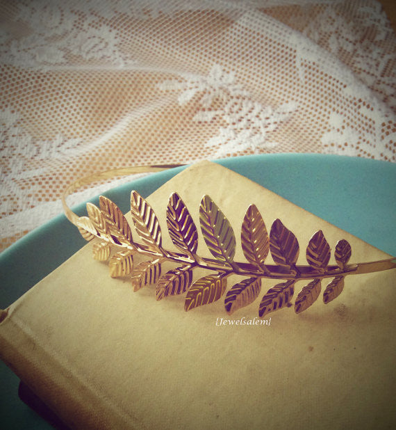 Bohemian Wedding Hairband Romantic Chintz Gold Leaf Headband Rustic Sprig Branch Headpiece Gold Leaves Bridal Hair Accessory Whimsical Grecian Statement Vintage Style - Jewelsalem