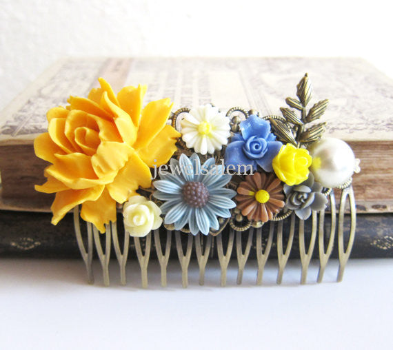 Mustard Yellow Hair Comb Cream Cornflower Blue Gray Brown Ivory Wedding Head Piece Bridal Floral Hair Comb Big Rose Autumn Leaves WR - Jewelsalem