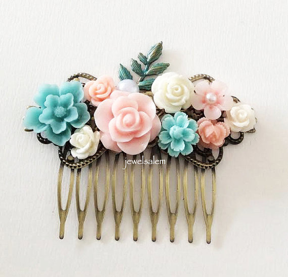 Pastel Pink Blue Wedding Bridal Hair Comb Light Turquoise Blush Floral Headpiece Bridesmaids Hair Pin Hair Slide Shabby Chic - Jewelsalem