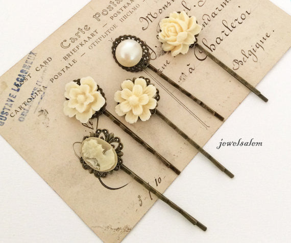 Vintage Style Ivory Hair Pins Cream Floral Bridal Bobby Pins Set of 5 for Bridemaids Pearl Flower Hair Slide Bride Flower Girl Victorian - Jewelsalem