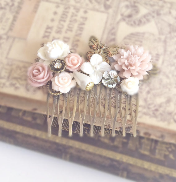 Powder Pink Blush Pink Hair Comb Wedding Hair Accessory Soft Pink Bridal Head Piece Pastel Pink White Flower Hair Pin Butterfly Floral Design - Jewelsalem