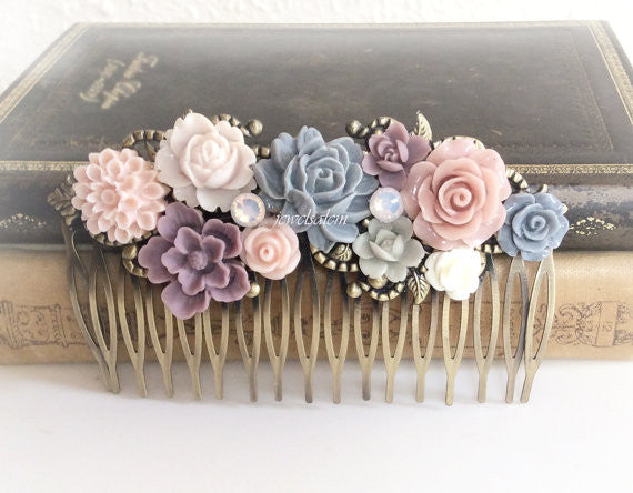 Mauve Wedding Hair Accessories Comb Blush Pink Peach Plum Gray Soft Pastel Colors Dreamy Romantic Bridal Hair Piece Cheap Bridesmaid Gift PM - Jewelsalem
