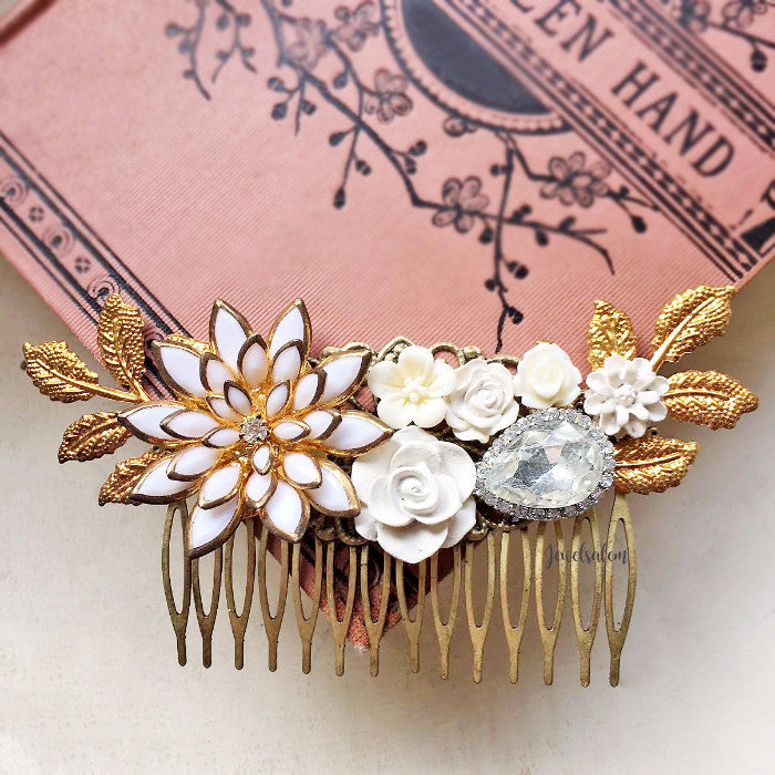 Calysta - Gold Leaf Wedding Hair Comb