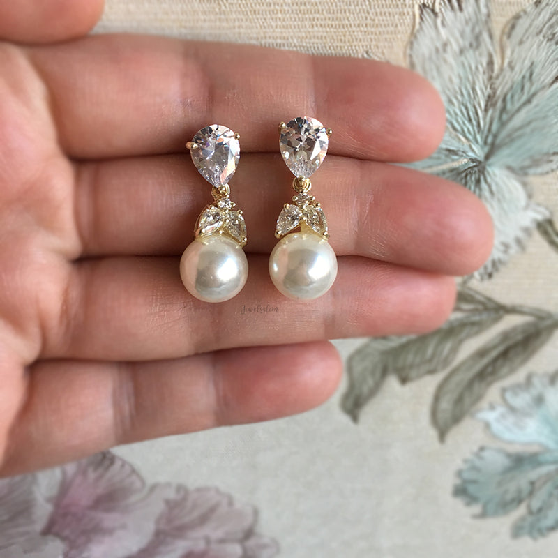 Ashley - Gold Cubic Zirconia Bridal Pearl Earrings