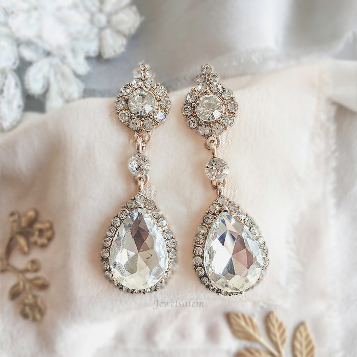 Ashley - Cubic Zirconia Bridal Earrings in Gold or Silver