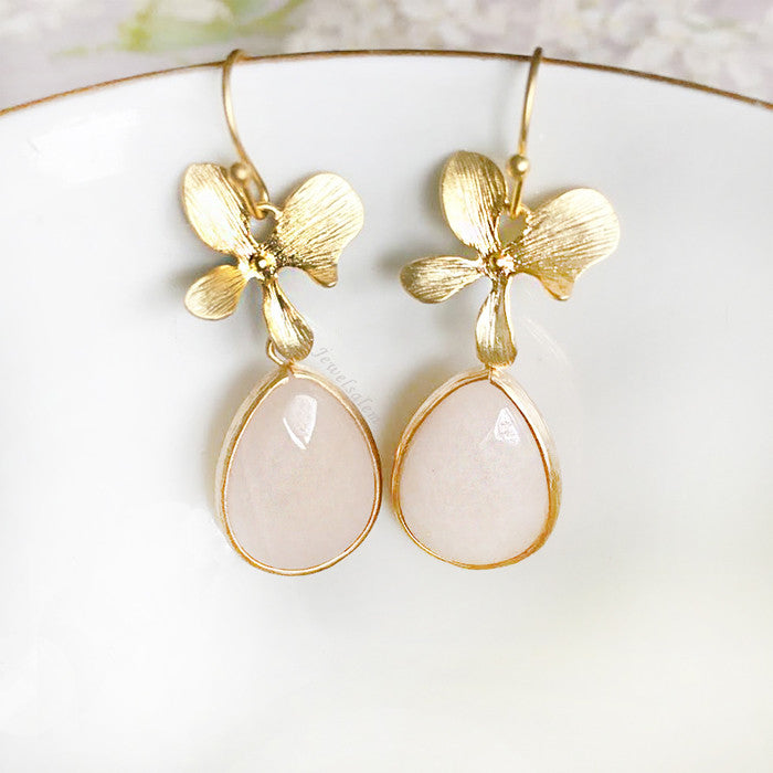 Orla - Blush Pink Gold Earrings Bridal Jewelry Elegant Romantic Floral Design Bridesmaids Gift - Jewelsalem