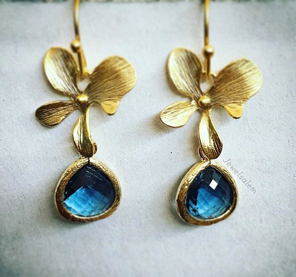Orla - Navy Blue Earrings Gold Orchid Flowers Bridesmaids Gift - Jewelsalem