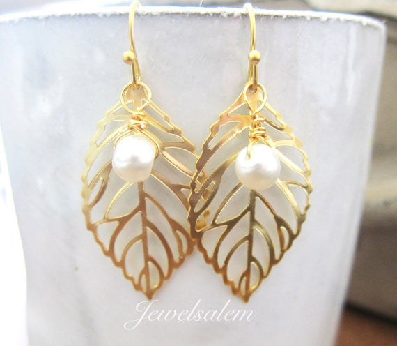 Gold Leaf Earrings with Pearl, Medium Leaves Earrings with Dangling Pearl Drop, Wire Wrapped Small Pearl Leaf Earrings Dangle Earrings - Jewelsalem
