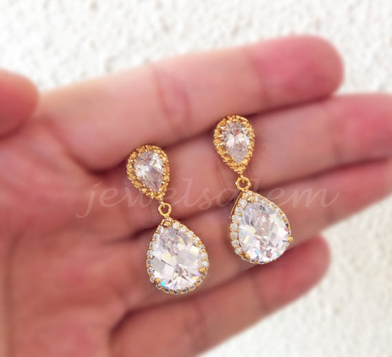 Cubic Zirconia Bridal Earrings Gold Wedding Earrings For Bride Crystal Dangling Earrings Clear Rhinestone Bridesmaids Gift Elegant Modern Classy - Jewelsalem