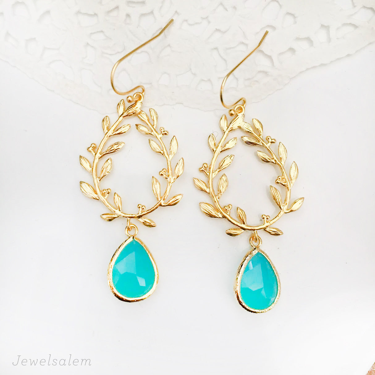Turquoise Gold Dangle Earrings Laurel Wreath Twine Leaves Aquamarine Glass - Jewelsalem