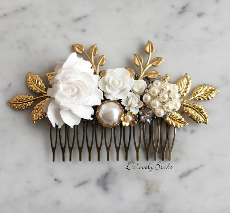 Sophia - Grand Wedding Hair Comb in Gold (Limited Edition)