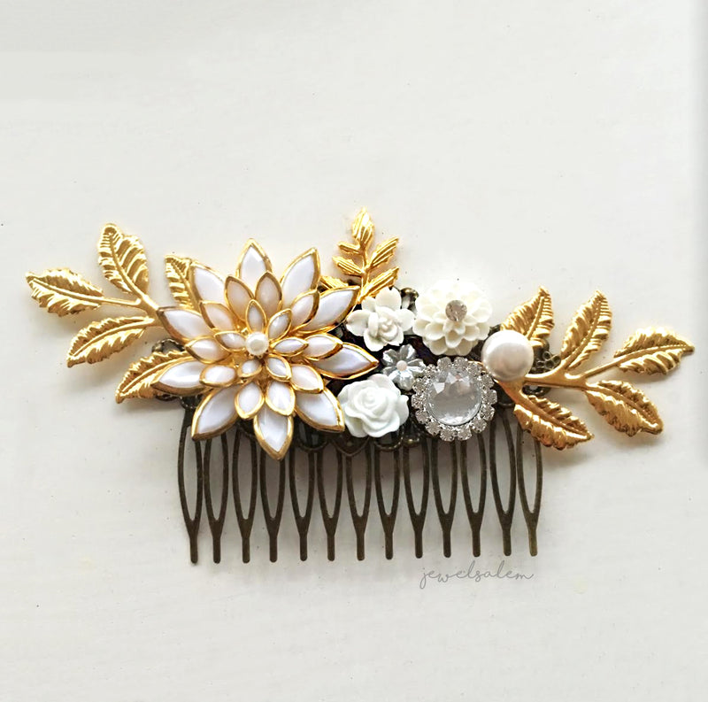 Calysta - Gold Wedding Hair Comb