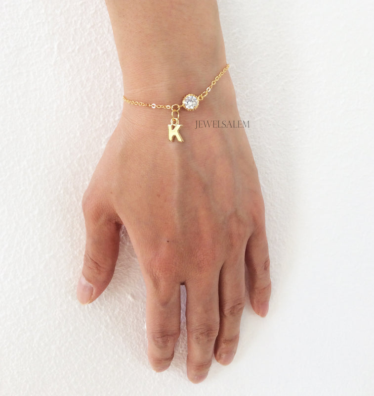 Personalized Bracelet with Initial Gold Bracelet Bridesmaid Gift Wedding Modern Elegant Bridal Jewelry Alphabet Customised Gift Sister C1 - Jewelsalem