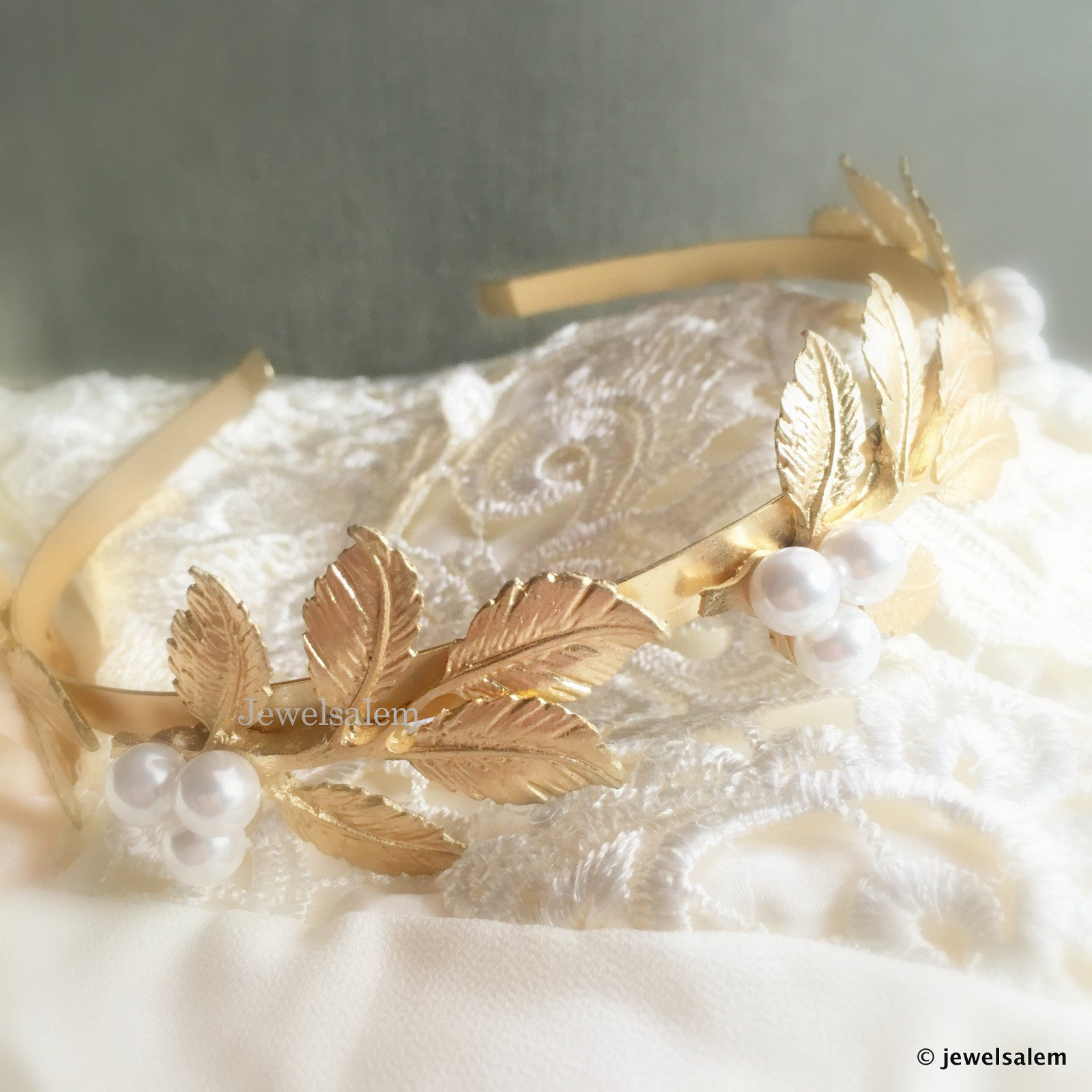Gold Leaf Headband Bridal Wreath with Pearl and Leaves - Jewelsalem