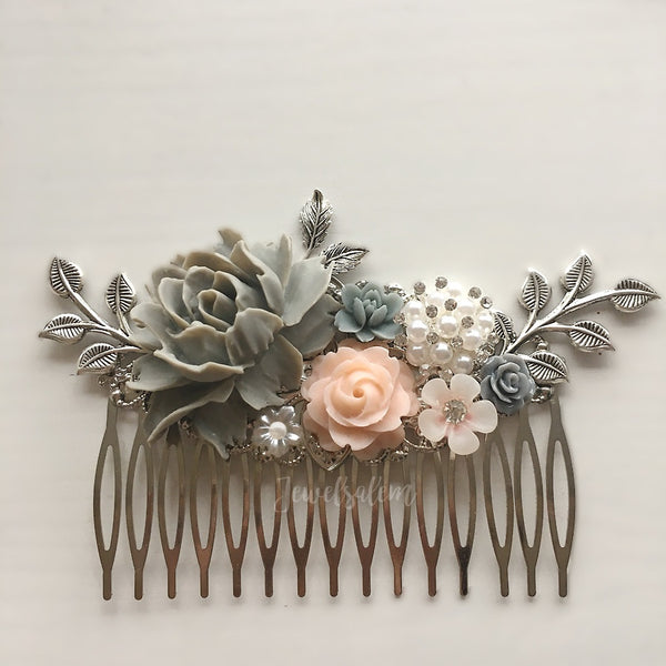 Lady Blair - Gray Blush Pink Wedding Comb