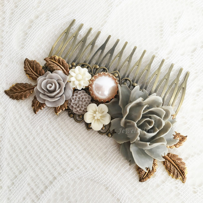Gray Bridal Comb Flower Hair Slide Grey Wedding Hair Comb for Bride Rustic Modern Wedding Hair Adornment Elegant Hair Pin - Jewelsalem