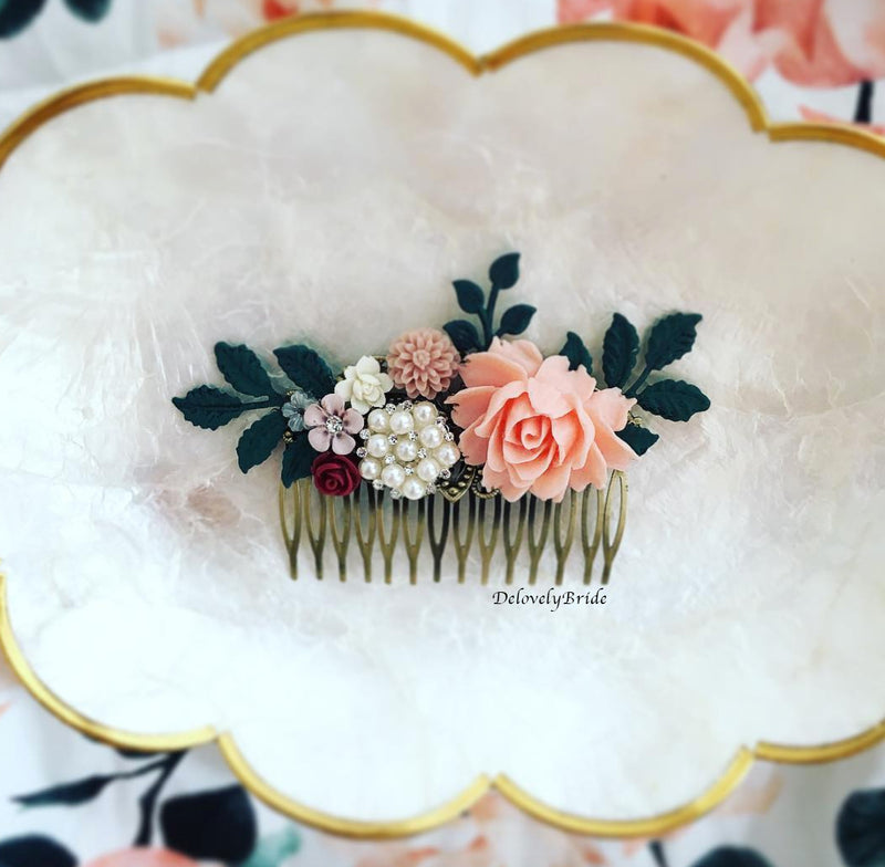 Alyssum - Blush Pink Maroon Teal Green Wedding Hair Comb