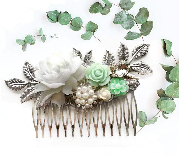 Alyssum - Silver Mint Wedding Hair Comb