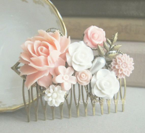Powder Pink Wedding Hair Comb Pastel Blush Bridal Hair Pin - Jewelsalem  - 2
