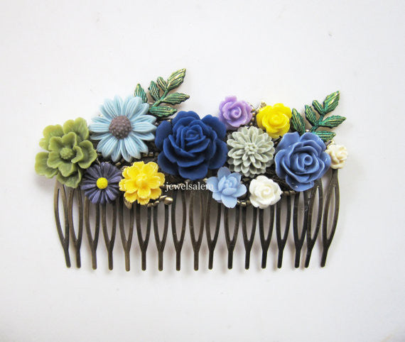 Wedding Hair Comb Bridal Hair Accessories Olive Yellow Autumn Blue Sage Green Spring Floral Headpiece Rustic Flower Collage Woodland - Jewelsalem