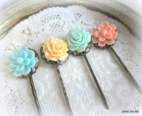 Mint Green Peach Coral Pink Floral Hair Pins Bridesmaids Turquoise Aqua Flower Pastel Colors Shabby Chic Wedding Flower Bobby Pin Set of 4 - Jewelsalem