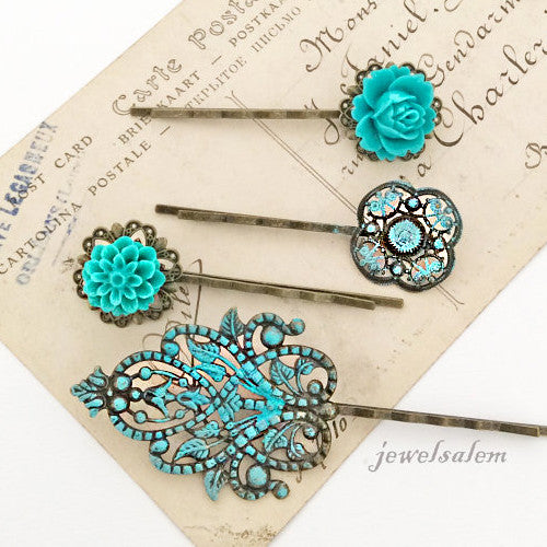 Turquoise Wedding Floral Hair Pins Aqua Blue Flower Hair Slide Vintage Style Teal Bridal Bobby Pin Set of 4 Bridesmaids Flower Girls Party - Jewelsalem