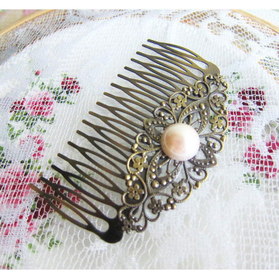 Vintage Style Pearl Hair Comb Shabby Chic Hair Comb Bridal Wedding Hair Comb Bridesmaids Victorian Spanish Hair Jewelry Great Gatsby - Jewelsalem